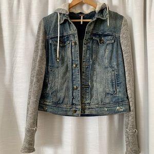 Free People (M) distressed jean jacket with hood